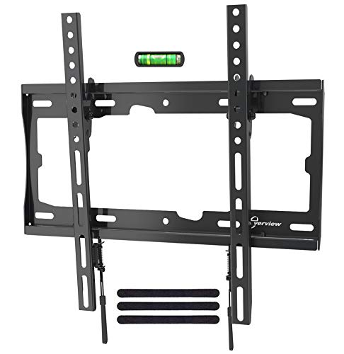 EVERVIEW TV Wall Mount Tilting Bracket Low Profile fits for Most 32-55 LED,LCD,OLED, Plasma Flat Screen TVs up to VESA 400 X 400mm,99lbs Loading Capacity with Bubble Level & Cable Ties