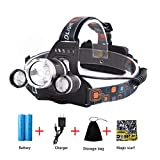 GETUHAND Rechargeable Led Headlamp 5000 Lumens Max 4 Modes, Super Bright Waterproof T6 led Headlamp with 2 Rechargeable Batteries, USB Cable, Power Adapter, Storage Bag, Magic Scarf for Outdoor Sports