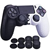 YoRHa Studded Dots Silicone Rubber Gel Customizing Cover for Sony PS4/slim/Pro Dualshock 4 controller x 1(Black&White) With Pro thumb grips x 8