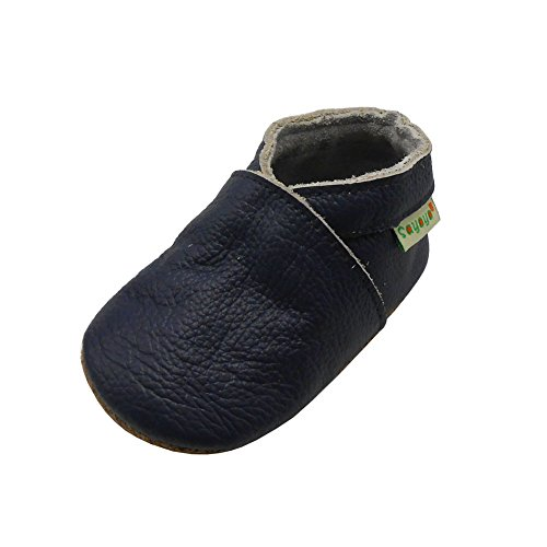 Sayoyo Lowest Best Baby Soft Sole Prewalkers Skid-Resistant Baby Toddler Shoes Cowhide Shoes (6-12 Months, Navy Blue)