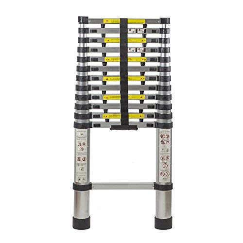 Flash Enterprise 12.5 Ft Extendable Telescoping Aluminum Portable Ladder with Finger Protection Spacers, EN131 Certified, 330 Lb Capacity