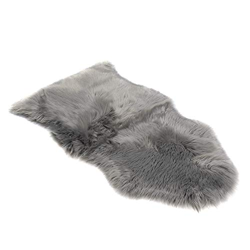Silky Super Soft Gray Faux Sheepskin Shag Rug Manufacturing | Machine Washable | Great for Photography Decor Bedroom | Real Look Without Harming Animals (Single Pelt (2'x3'), Gray)