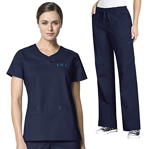 WonderFlex Women's Patience Curved Notch Neck Tops & Faith Multi-Pocket Cargo Pant Scrub Set [XXS - 5XL]+ FREE GIFT