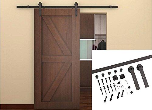 Unionline US Style 6.6 Ft Homewares Sliding Wood Barn Door Hardware Sliding Track Kit Straight Roller