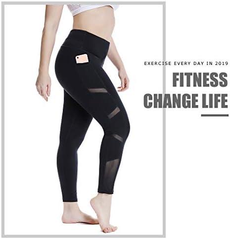 YOHOYOHA Women's Yoga Pants Plus Size Breathable Mesh Splice Tummy Control Best Long Workout Fitness Pants for 4 Way Stretch 5