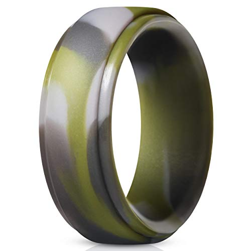 ThunderFit Silicone Ring for Men - Rubber Wedding Band - 1 Ring (Green Camo, 6.5-7 (17.3mm))