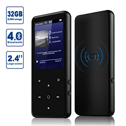 MP3 Player, Alptory 32GB MP3 Player with Bluetooth 4.0,Portable Sports Music Player 2.4'' Screen Built-in Speaker with Voice Recorder,MP4 Player,Video Player,FM Radio,Text Reading, HiFi Lossless Sound