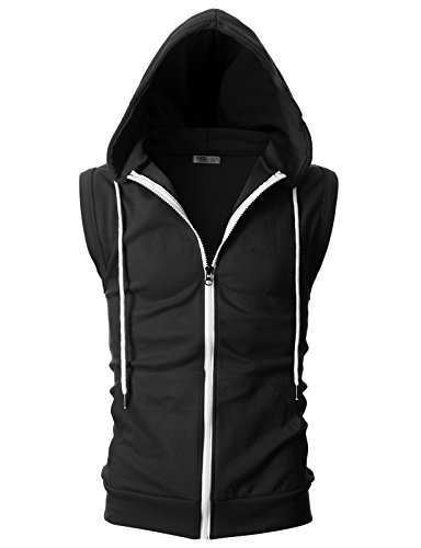 OHOO Mens Slim Fit Sleeveless Lightweight Zip-up Hooded Vest with Zipper Trim 15 Fashion Online Shop gifts for her gifts for him womens full figure