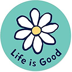 Life is Good. Circle Sticker Daisy - Teal