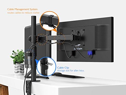 "41WW76ZkG4L - 1home Single Arm Desk Mount Ergonomic LCD LED Computer Monitor Bracket Stand Tilt Swivel Rotation 13""-32"" Screen TV | VESA Dimensions: 75x75-100x100"