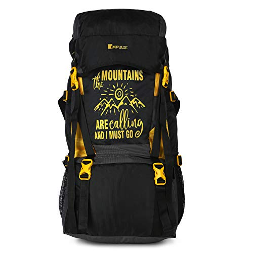 41WWEbNV5kL - Impulse Waterproof Travelling Trekking Hiking Camping Bag Backpack Series Mt. Calling 68.6 cms Yellow Rucksack