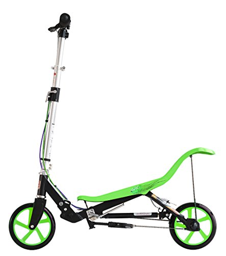 SpaceScooter USS3BLGR Push Board Pump Action Kids Scooter with Handbrake, Air Suspension and Compact Fold, One Size, Black/Green