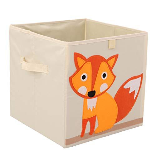 Murtoo Toy Bin Foldable Storage Cube Box Eco Friendly Fabric Toy Storage Cubes Organizer for Kids Toy Chest, 11 Inch (Fox)
