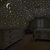 PARLAIM Glow in The Dark Stars and Moon Wall Stickers, Glowing Stars for Ceiling Wall Decals Perfect for Kids Nursery Bedroom Living Room - 201 Pieces(8816)