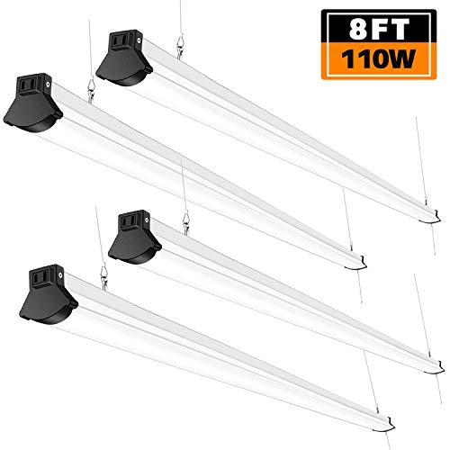 FaithSail Linkable 8FT LED Shop Light 110W, 12000 Lumen, 5000K, 8 Foot LED Linear Lights Fixtures for Warehouse, Garage, Plug in with Power Cord, Pull Chain, Daylight Lighting, ETL Certified, 4 Pack