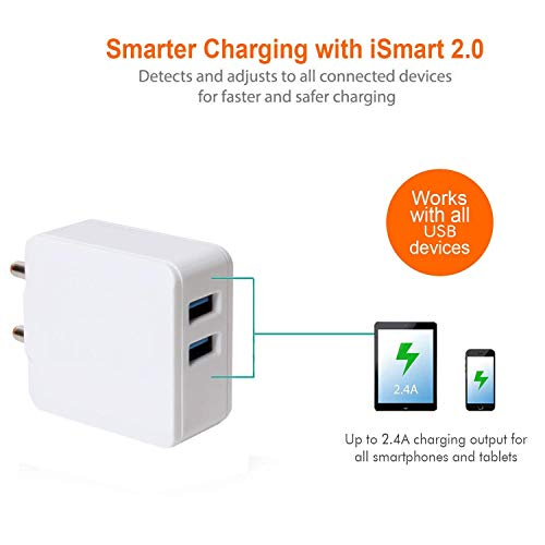 cableBasket Fast Turbo Mobile Dual USB Port 2.4A amp Wall Charger Adapter for Android Phones with Two Micro USB Data Cables (2 amp) 4