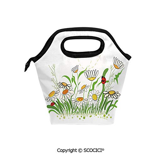 Reusable Printed Design Lunch Bag Spring Flowers Chamomiles Daisy Field with Cheerful Ladybugs Cartoon Lunch Tote bag for Work and School.