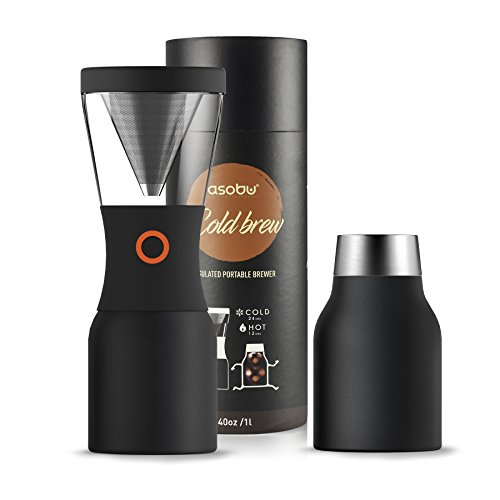 Asobu Coldbrew Portable Cold Brew Coffee Maker With a Vacuum Insulated 40oz Stainless Steel 18/8 Carafe Bpa Free (Black) (kb900)