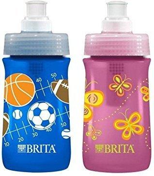 Brita Soft Squeeze Water Filter Bottle For Kids, Variety 2 Pack, Navy Blue Sports/Pink Butterflies