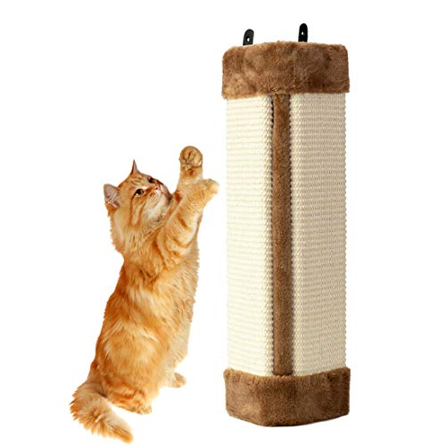JIARUILA Wall Mounted Scratching Post - Sisal Cat Tall Scratching Post - Stops Scratching Cats & Couch-Corner (Brown)