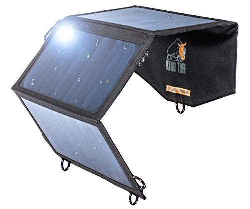 Ryno Tuff Solar Charger Dual USB Solar Panel Charger, Compact, Durable & Waterproof Solar Charger for Cell Phone, PowerBank, and Electronic Devices, Great for Camping, Hiking or Traveling
