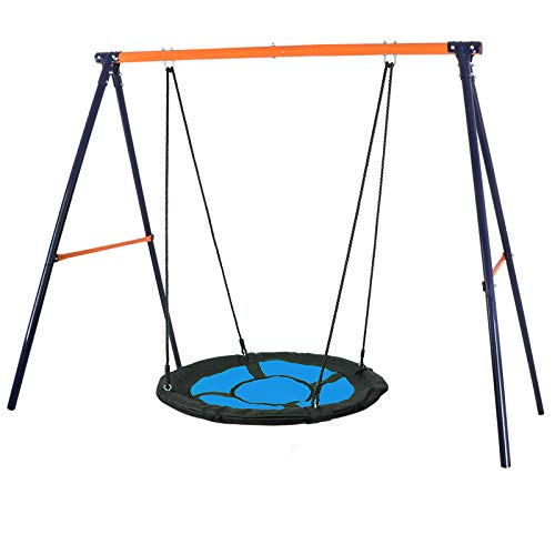 Super Deal Swing Set Combo for 1-2 Kids - 40'' Web Tree Swing + Heavy Duty A-Frame Metal Swing Set, Resilient and Resistant to All Types of Weather, Extra Safe and Durable, Fun for Kids