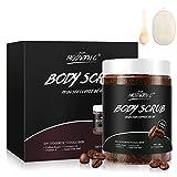 Coffee Body Scrub 100% Natural Organic Dead Sea Salt Exfoliating Bouns Loofah Sponge pad Anti Cellulite and Stretch Mark Treatment Dead Skin Remover(COFFEE SCRUB))