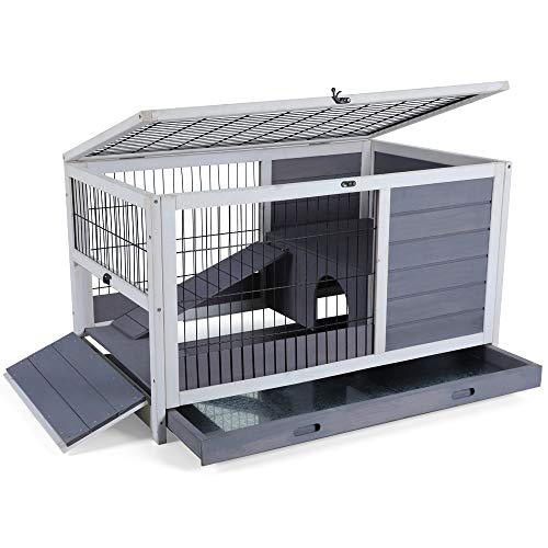 Petsfit Indoor Rabbit Hutch with Hideout for Rest and Ramp for Enter and Out, 35.5' x 21' x 21'
