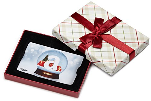 Amazon.com Gift Card in a Plaid Gift Box (Holiday Globe Card Design)