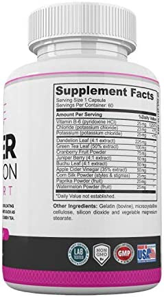 Water Retention Pills for Women Bloating Relief with Vitamin B6, Dandelion & Green Tea Natural Diuretic for Water Draining, Bloating & Swelling Detox Capsules - 60 Caps - by LadyMe 5