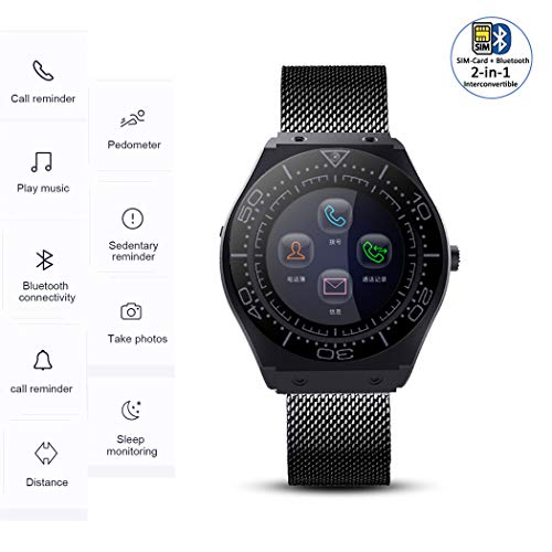 Onbio All-in-1 Smart Watch Touch Screen Pedometer Heart Rate Monitor Blood Pressure Activity Tracker Sleep Monitor Camera Bluetooth Sport Fitness Tracker (Black)