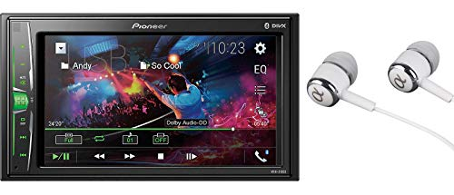 Pioneer MVH-210EX 6.2' VGA Touchscreen WebLink Double DIN, Bluetooth USB MP3 Aux Input, in-Dash Siri Eyes Free & Google VR, Multi-Color Illumination Digital Media Receiver/Free ALPHASONIK Earbuds