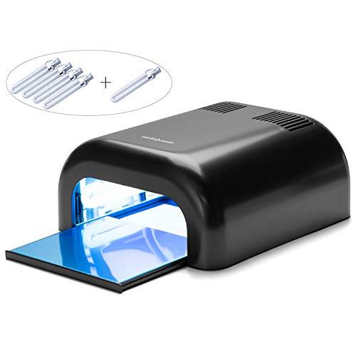 MelodySusie 36W UV Nail Dryer - UV Lamp Light for Any UV gel polish, with Sliding Tray & Timer Setting + 4 x 9W UV Lamp + Free Extra One Bulb - Black