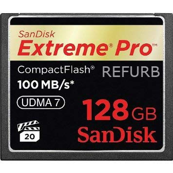 SanDisk Extreme PRO 128GB CF CompactFlash Card UDMA 7 Speed Up to 100MB/s SDCFXP-128G-X46 (Renewed)