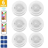 BWL Wireless LED Closet Lights, RGB Color Changing Puck Light with Remote Control, Touch Sensor LED Night Light, Battery Operated Under Cabinet Light - 6 Pack (18 PCS Battery Included)