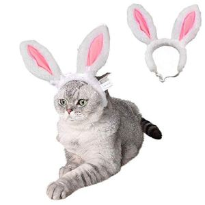 ANIAC Pet Headgear Soft Headband with Cute Bunny Ears Warm Hat Head Accessories Easter Costume for Cats Kitten Puppy and Small Dogs
