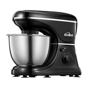 Food Stand Mixer Kealive 8 Speeds Cake Mixer 1200W MAX Dough Maker with 4.5L Mixing Bowl, Dough Hook, Wire Whip, Beater and Splash Guard Cover, Noise 65 db Stand Mixer for Baking 41X6O3MEQbL