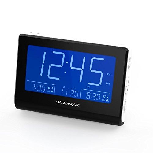 Magnasonic Alarm Clock Radio with Battery Backup, Dual Gradual Wake Alarm, Adjustable Brightness, Daylight Savings Time, Large 4.8' LED Display, AM/FM, Sleep Timer, Day/Date Display (CR61W)