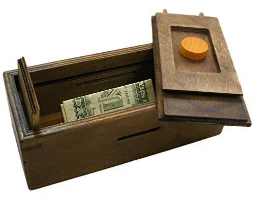 Puzzle box enigma secret discovery money and gift card for 4 compartment piggy bank