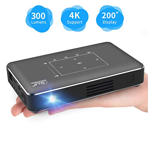 Pico Portable Projector, Haidiscool Mini Pocket Video Smart Phone DLP Android Projector 300 ANSI Lumen with Bluetooth/USB/HDMI/2GB RAM, Support 1080P 4K Movie, for Outdoor/Home Cinema