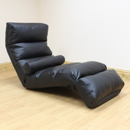 Hartleys Black Faux Leather Adjustable Floor Lounger