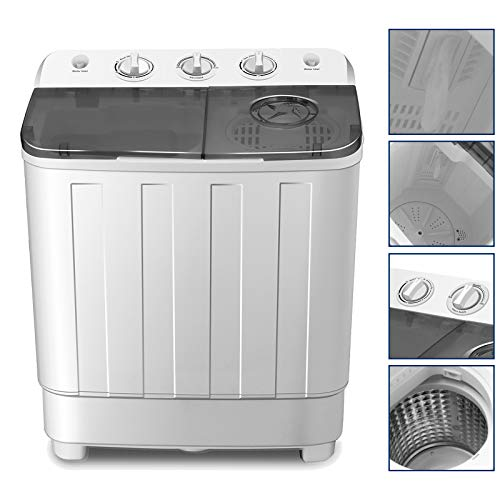 4-EVER Portable Washing Machine 17lbs Compact Twin Tub Washer and Dryer Combo for Apartments,Dorms,RV's,College Rooms,Camping
