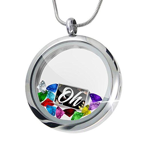 Floating Locket Set Floral Border Oh, the Places You'll Go + 12 Crystals + Charm, Neonblond