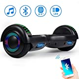 Spadger Hoverboard UL2272 Certified Colorful LED Flash Lights Two 6.5' Wheels Self-Balancing Electric Scooter Dual 300W Motors Smart Hover Board with Free Carry Bag for Adults Kids Gift(Black)