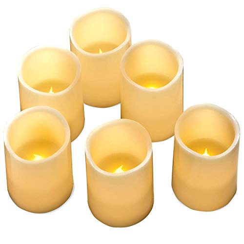 Hayley Cherie - Real Wax Flameless Candles with Timer (Set of 6) - Ivory LED Candles 3' Wide x 4' Tall - Flickering Amber Flame - Battery Operated Pillar Candles - Large Unscented