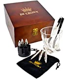Twist Whiskey Glass and XL Bullet Stones Gift Set - Large Crystal Drinking Cup, 6 Chilling Rocks, Tongs, Revolver Base In Fancy Wooden Box | Cool Gift for Men Dad Boyfriend on Anniversary Retirement