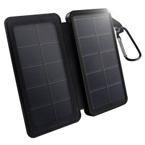 Solar Charger 12000mAh X-DNENG Portable High Efficiency SunPower Solar Panel External Battery Pack Power Bank Dual USB Port LED Light for iPhone iPad Samsung Android Cellphones GoPro & More