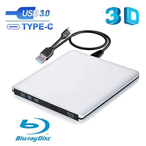 Ploveyy External Blu Ray DVD Drive , USB 3.0 & USB C Burner Slim Optical Portable Blu-ray CD DVD Reader Writer RW Player for Laptop Desktop MacBook OS Windows 7 8 10 PC iMac Laptop (Silver)