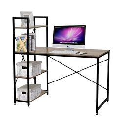 Bestier Computer Desk with Shelves,Writing Desk Study Table Office Desk with Shelves Workstation Home Office Desk with Bookshelf for Study Room, Bedroom, Living Room, Office Room Oak