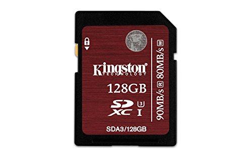 Kingston Digital 128GB SDXC UHS-I Speed Class 3 90MB/s Read 80MB/s Write Flash Memory Card (SDA3/128GB)